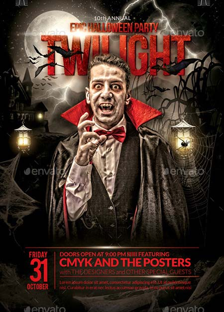 3_ The Epic Twilight Halloween Party Flyer Template
