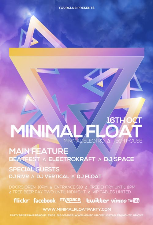 Minimal Float Electro Free Electro Club PSD Flyer Template