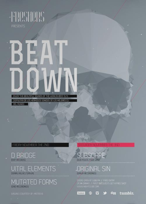 Free Minimal Beat Down Flyer Template