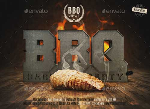 3D Barbecue BBQ Flyer