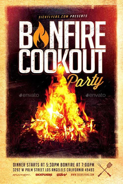 Bonfire Cookout Party Flyer