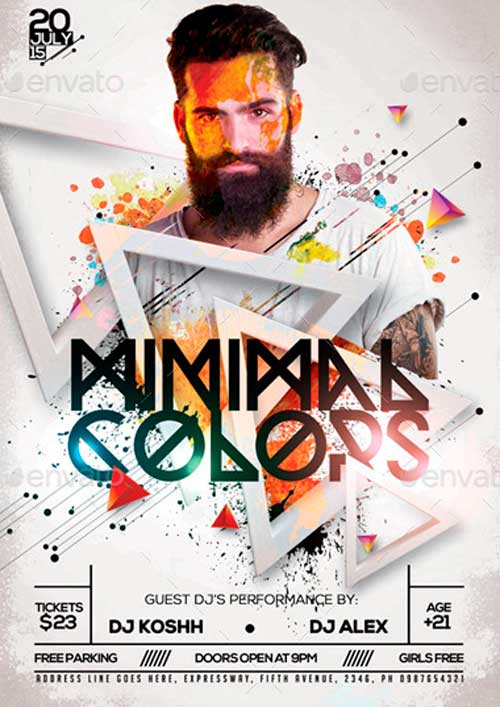 Minimal Colors PSD Flyer / Poster Template