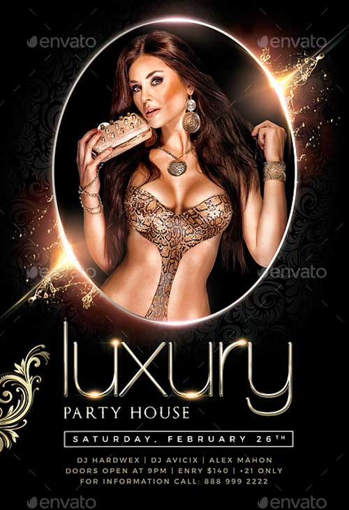 VIP Luxury Nights Party Flyer Template PSD
