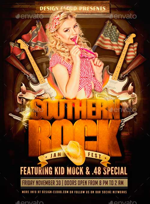 Southern Rock Festival Poster Flyer Template
