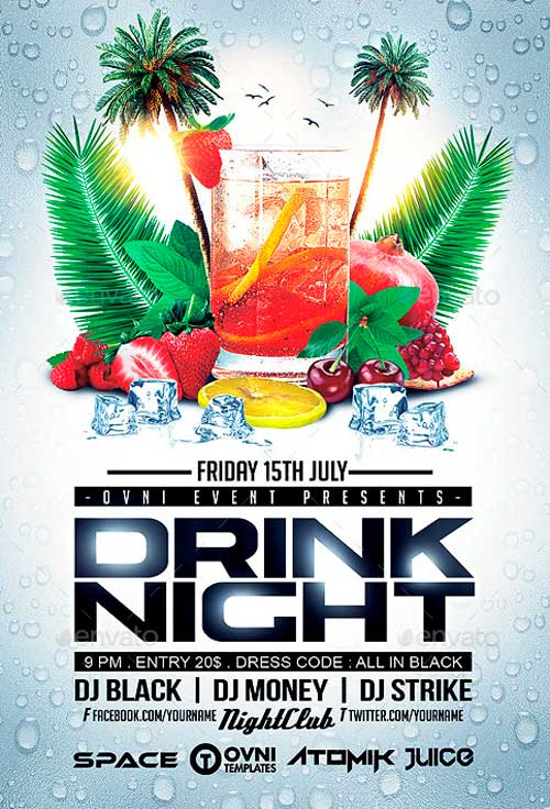 Cocktail Drink Summer Flyer Template