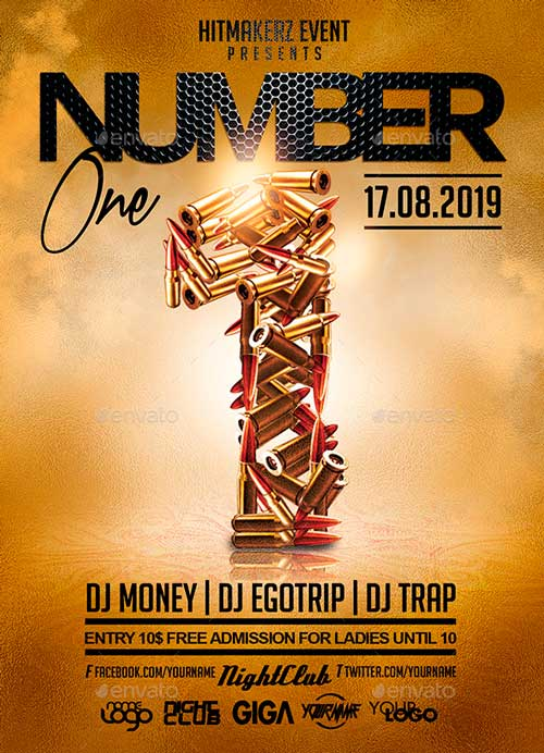 Number One | Hip-Hop Rap Night Flyer PSD Template