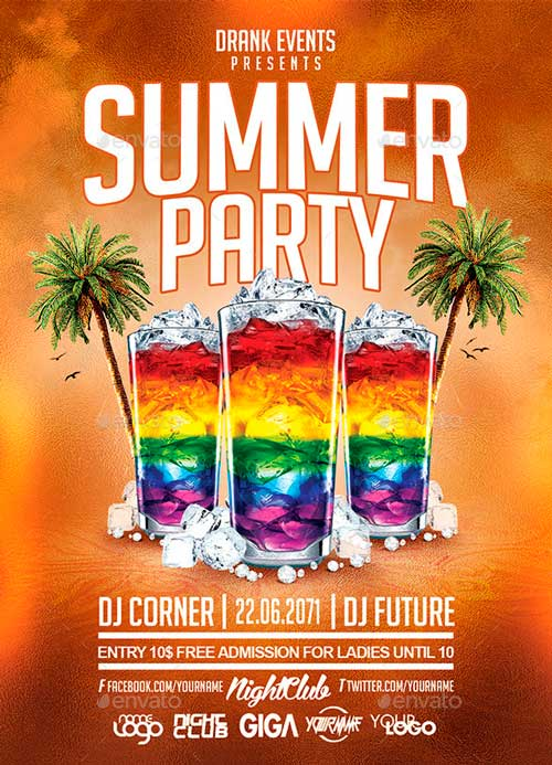 Summer Party Cocktail Night Flyer PSD Template