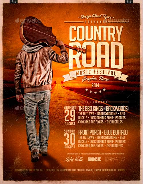Country Road Music Festival Poster Flyer Template