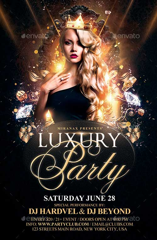 Luxury Nights Party Flyer Template PSD