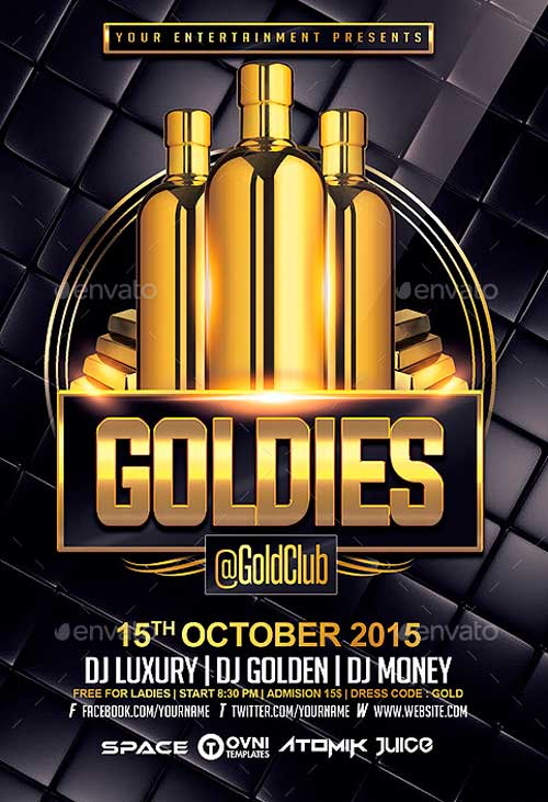 Gold VIP Drink Flyer Template