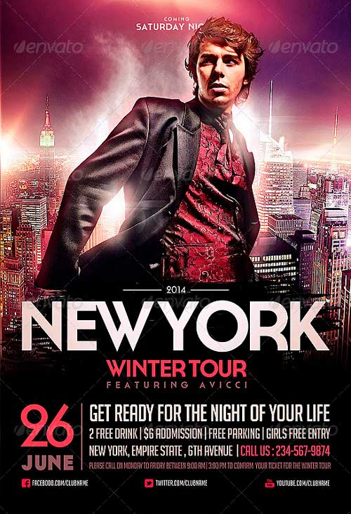 NYC Electro House Dj Flyer Template