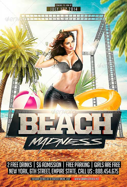 Summer Beach Madness Flyer Template