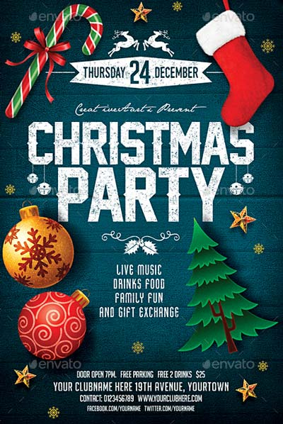 Christmas Party Flyer.Top 50 Christmas Flyer Templates Of 2015 Flyersonar Com
