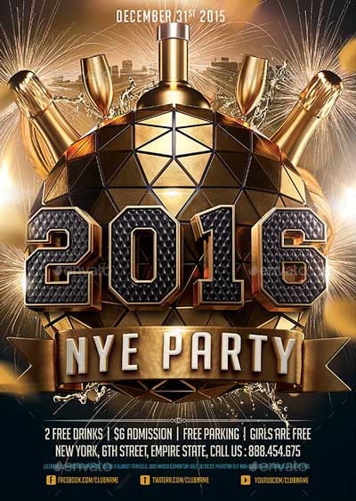 2016 New Years Eve NYE Flyer Template