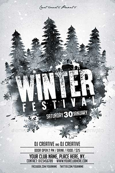 Winter Party Festival Flyer Poster