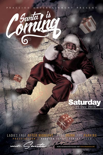 Santa Is Coming Flyer Template