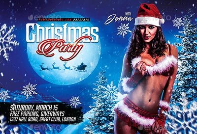 Christmas Night Party Horizontal Flyer Template