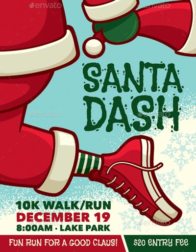 SANTA DASH CHRISTMAS WALK / RUN Event Poster, Flyer