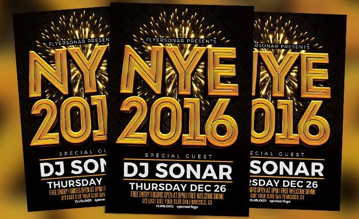 NYE 2016 Free PSD Flyer Template