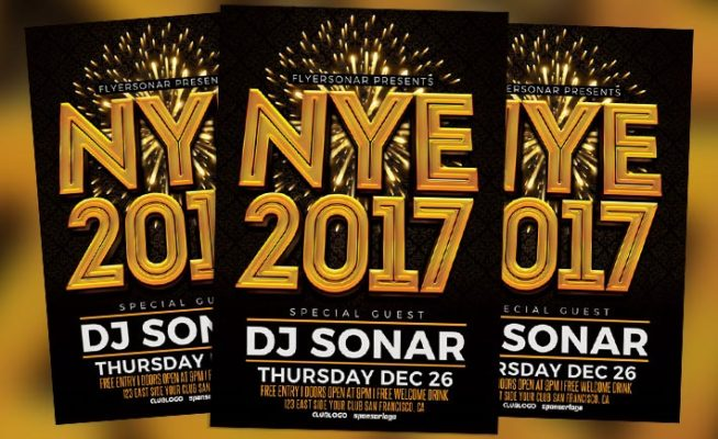 NYE 2017 Free PSD Flyer Template - Free Download for Photoshop