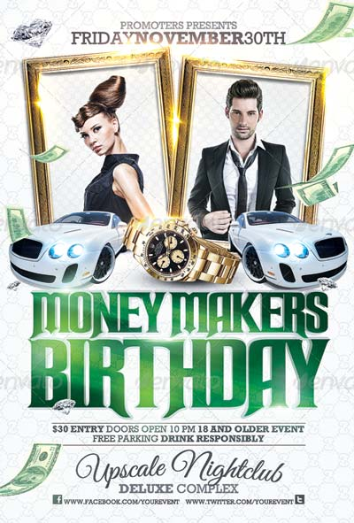 Club Sessions l Money Makers Party Flyer