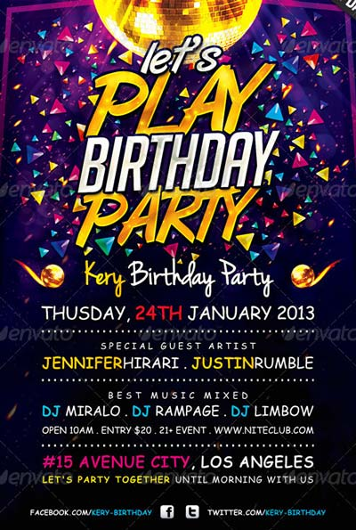 Lets Play Birthday Party Flyer Template
