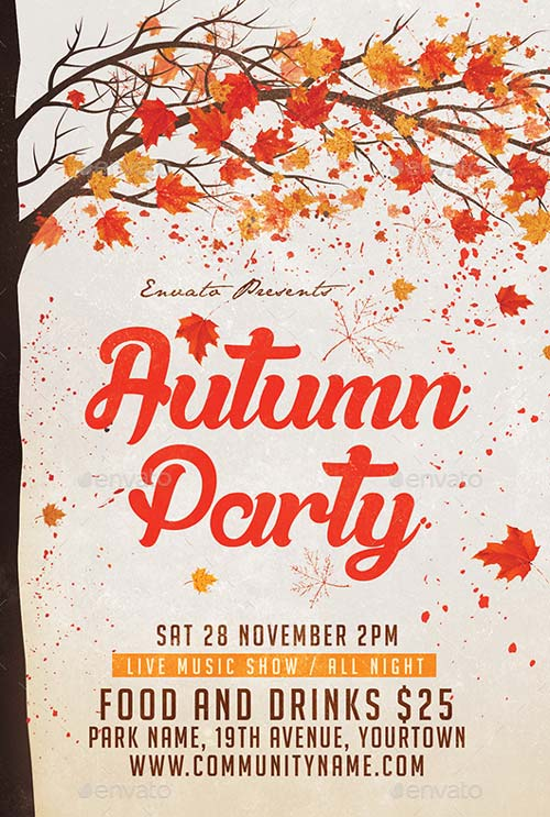 Autumn Party Flyer PSD Template