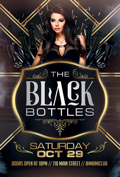 Black Bottles Party Flyer Template