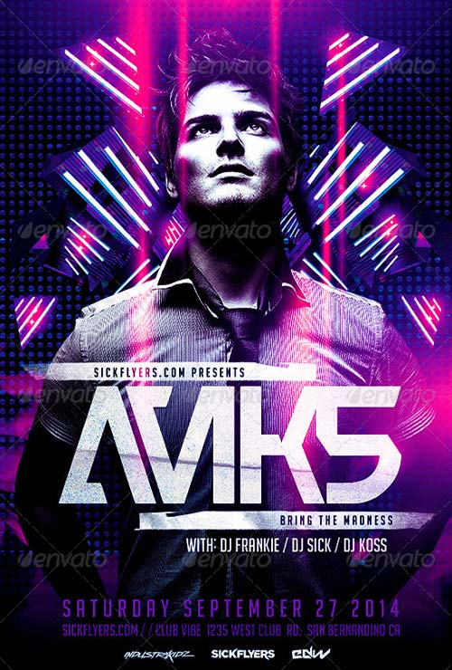 Electro Dance Music Concert Flyer Template
