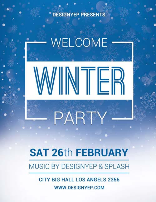 Winter Welcome Party Free PSD Flyer Template