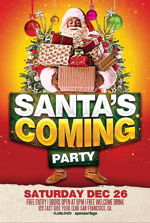 Santa Coming Party Free PSD Flyer Template
