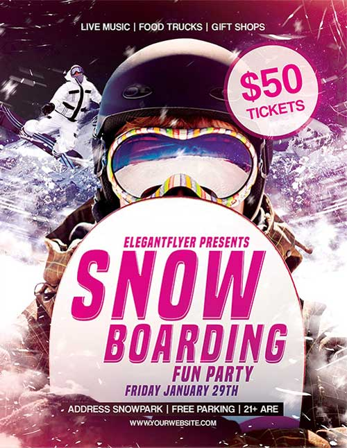 Free Snowboarding Fun Party PSD Flyer Template
