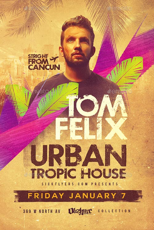 Tropical House Flyer PSD Template