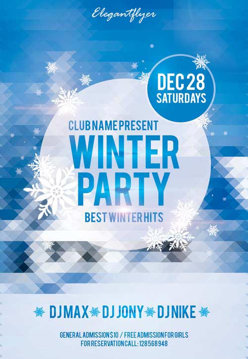 Winter Party Free Club and Party Flyer PSD Template