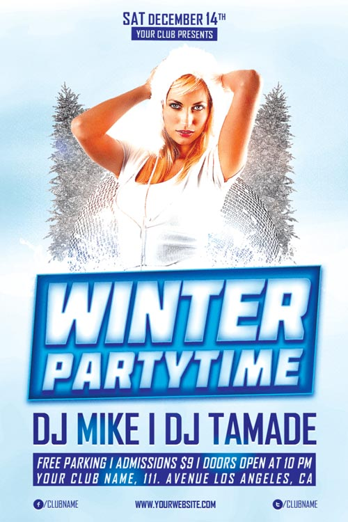 Winter Party Time Free PSD Flyer Template for Photoshop