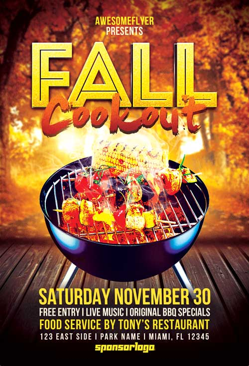 Fall Cookout Flyer Template