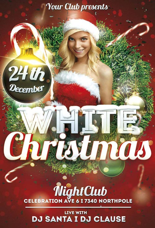 White Christmas Flyer Template for Photoshop