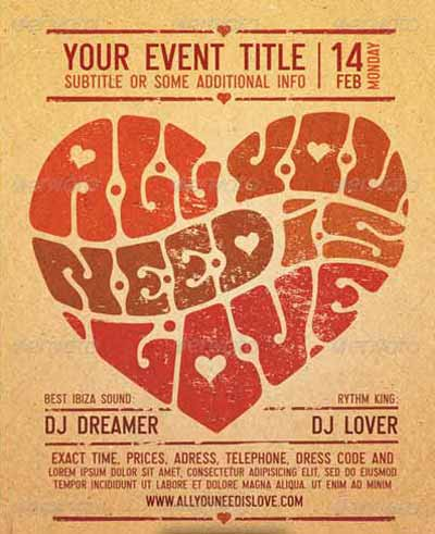 All You Need Is Love Valentines Day Poster and Flyer Template