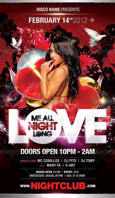 Love Me All Night Long Flyer Template