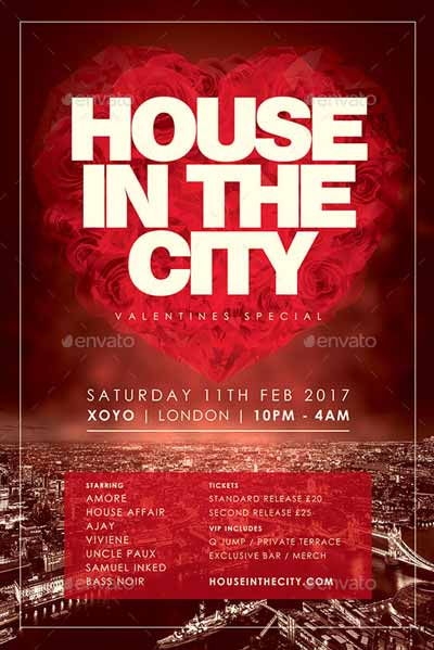 House In The City Valentines Day Flyer