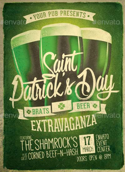 Retro St. Patrick's Day Party Flyer Template