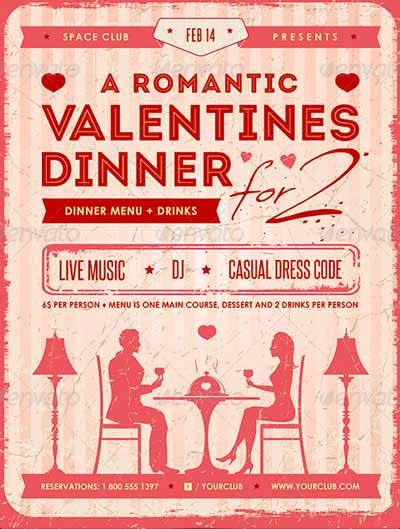 Romantic Valentine's Dinner Poster and Flyer Template