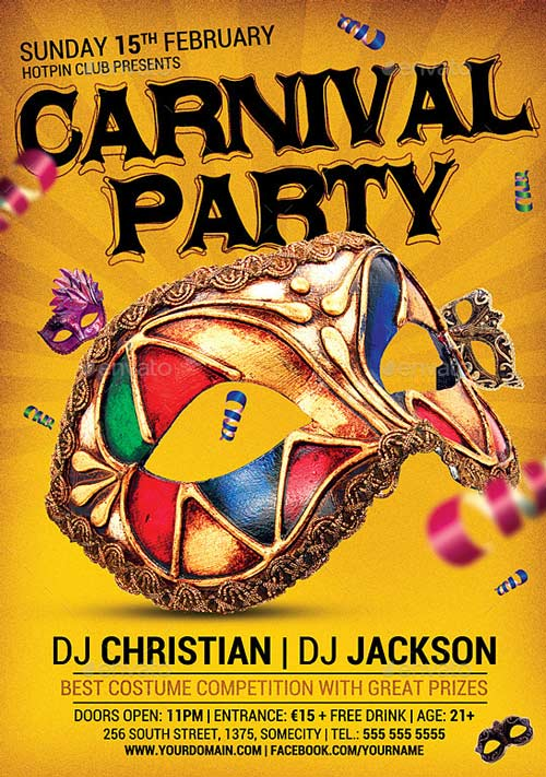 Carnival n Mardi Gras Party Flyer v4