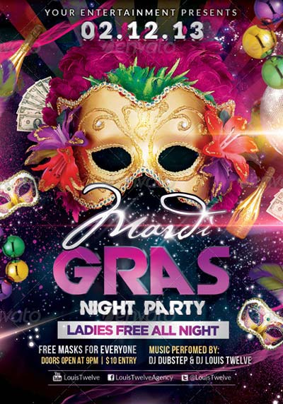 Mardi Gras / Carnival Party | Flyer + Fb Cover