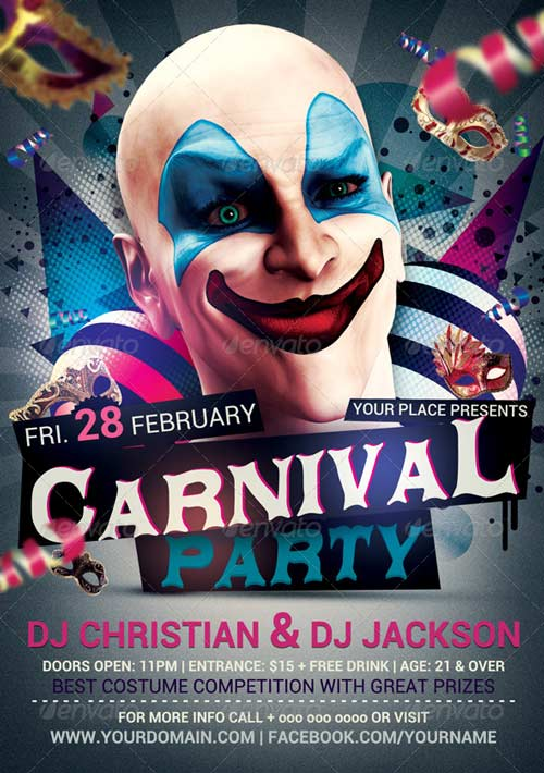 Carnival n Mardi Grass Party Flyer