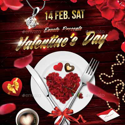 Valentines Day Dinner Party Flyer Template