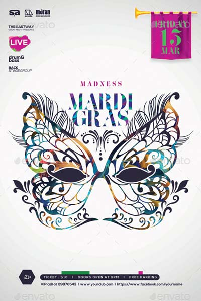 Madness Mardi Gras PSD Template Flyer / Poster