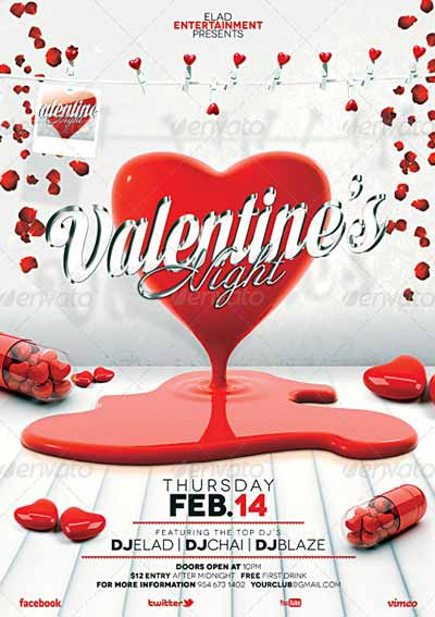 Valentine's Day A4 Flyer Poster Template