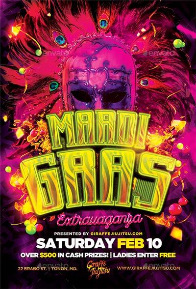 Mardi Gras Extravaganza Flyer Template