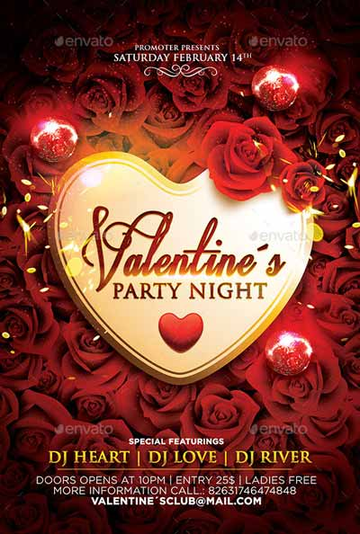 Valentine´s Party Night Flyer Template